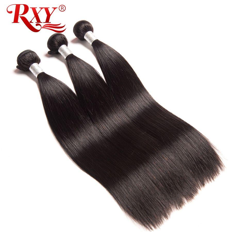 RXY Remy cheveux raides paquets 3 pièces lot Top brésilien cheveux armure paquets 100% cheveux humains paquets Double trame tisse Extensions