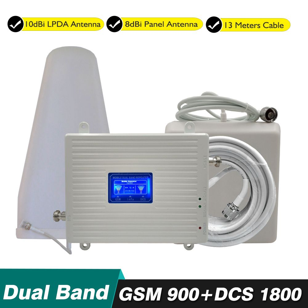 70dB Gain 23dBm 2G 4G Dual Band Booster Kit GSM 900mhz DCS 1800mhz 4G LTE Cellular Cellphone Signal Repeater Amplifier Full Set