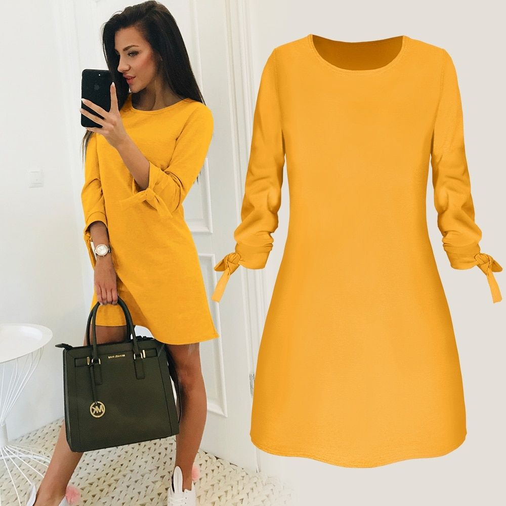 2019 New Spring Fashion Solid Color Dress Casual O-Neck Loose Dresses Bow Elegant Beach Female Vestidos Plus Size 5XL