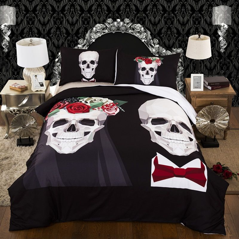 3D Skull Bedding sets queen size Plaid Duvet Cover with pillow case Bed Europe Style Cool Unique wedding Skull Bedding