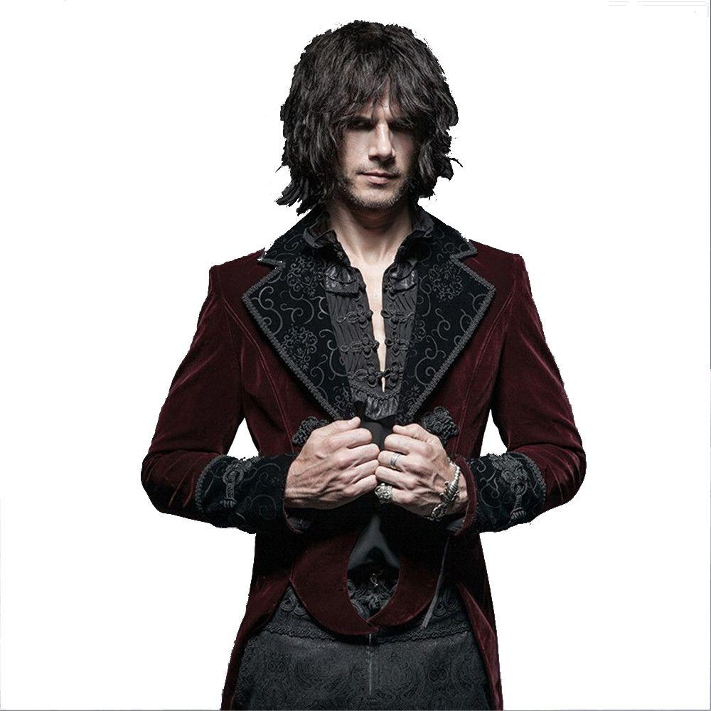 Steampunk Men's Flannel Scissors Tail Coat Gothic Gentleman Classical Velour Long Jacket Party Formal Jacket Coats