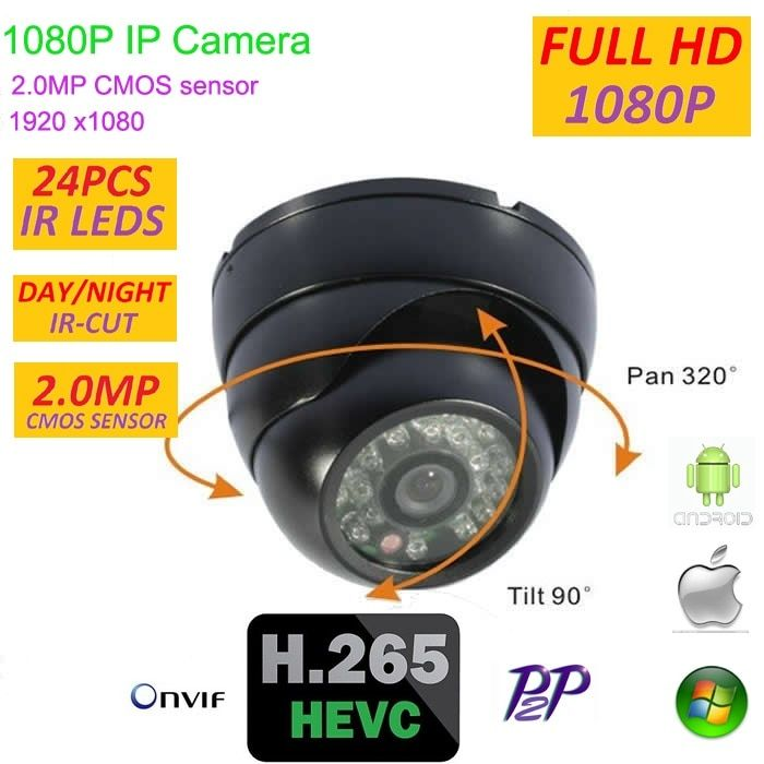 H.265 Mini 2.0 Megapixel 1920*1080P Dome IP Camera Indoor home security Support P2P Android IOS ONVIF H.265 easy plug and play