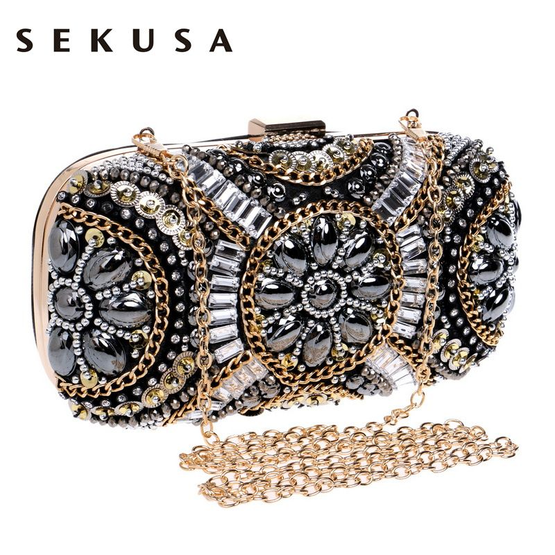 SEKUSA Women's <font><b>Crystal</b></font> Evening bag Retro Beaded Clutch Bags Wedding Diamond Beaded Bag Rhinestone Small Shoulder Bags