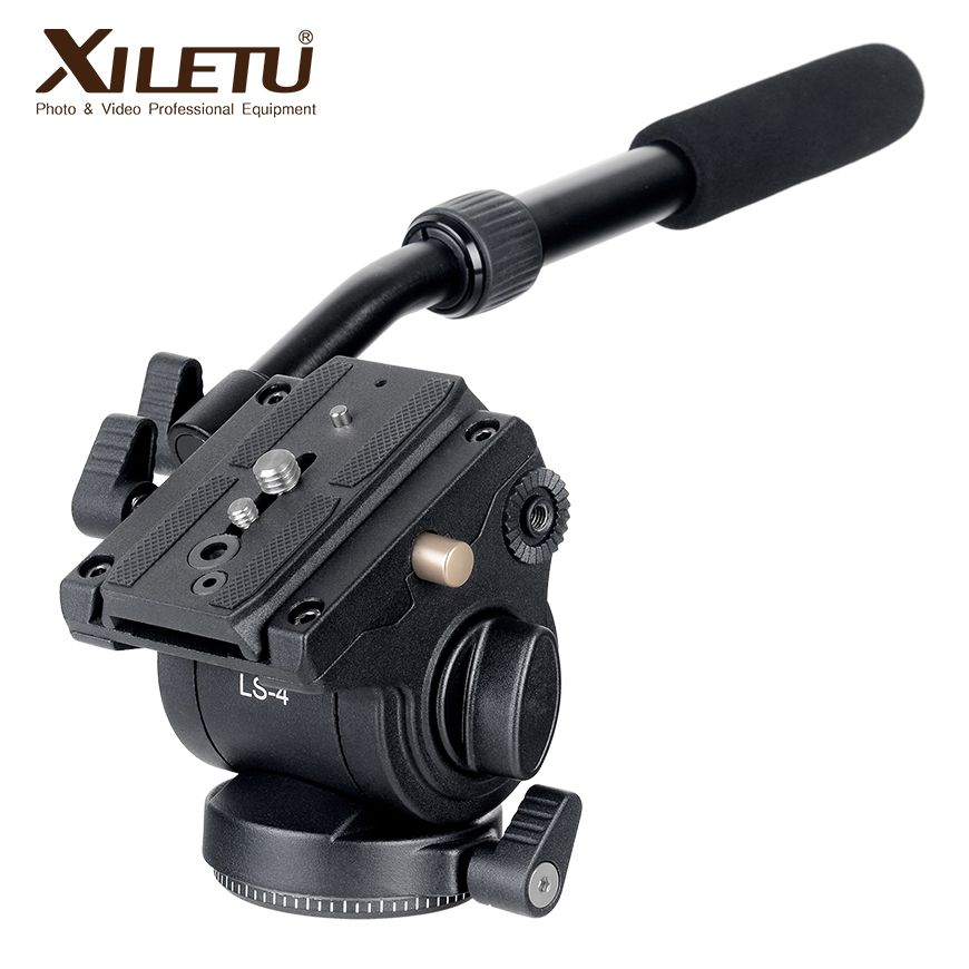 XILETU LS-4 Handgrip Video Photography Fluid Drag Hydraulic Tripod <font><b>Head</b></font> and Quick Release Plate For ARCA-SWISS Manfrotto