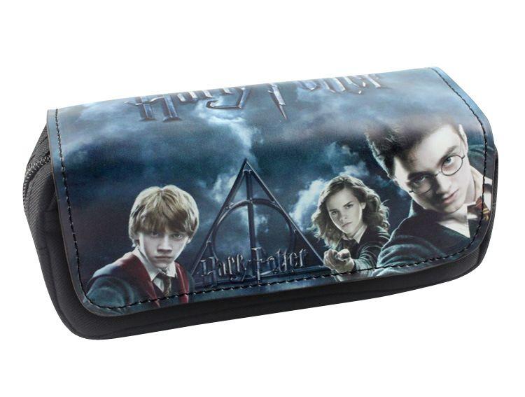 Film de Film Harry imprimer poudlard magique école Badge sac à crayons Double couche grande capacité Zipper sac à crayons école papeterie