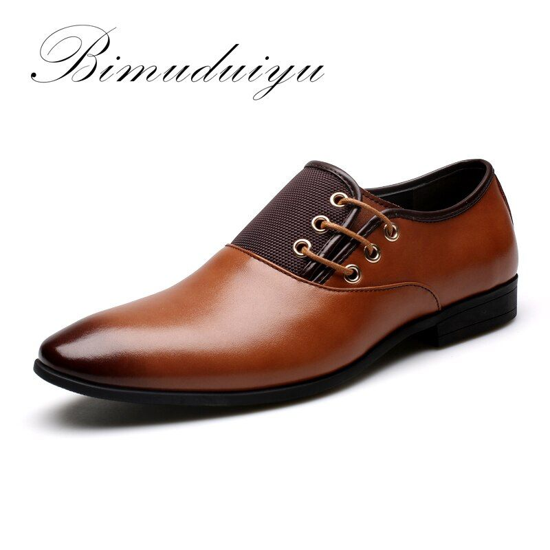 BIMUDUIYU Tamaño Grande 6.5-12 Nuevos Hombres de La Manera Zapatos de Vestir de Boda Zapatos de Punta Redonda Plana de Negocios Británico de Encaje Negro zapatos con cordones de Los Hombres
