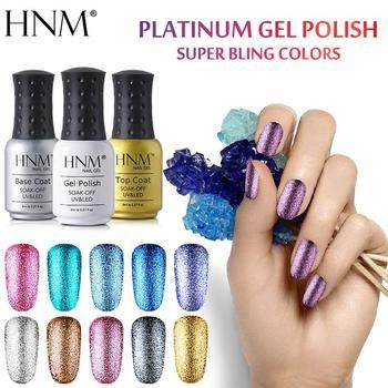 HNM 8ML Glitter UV Nail Gel Long Last LED Lamp Gel Varnish Esmalte Permanente Nail Art Gel Nail Polish Stamping Gelpolish Ink