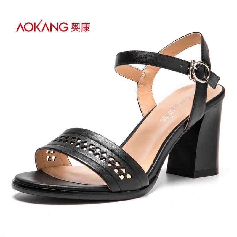 AOKANG 2017 Frauen Sommer Schuhe aus echtem leder schuhe Mode Sommer frauen Sandalen Frauen High heels schuhe Freies verschiffen