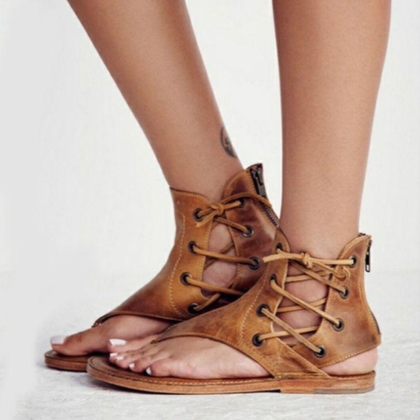 She Era 2018 Gladiator Sandals Women New Fashion Summer Women Sandals for Beach Flat Flip Flops Sandalia Feminina SIZE 35-43
