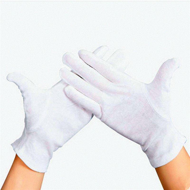12 Pairs Elastische Nylon Garn und Baumwolle Arbeit Arbeitshandschuhe Hand Sicherheit Sicher Schutz Abdeckung Weiß