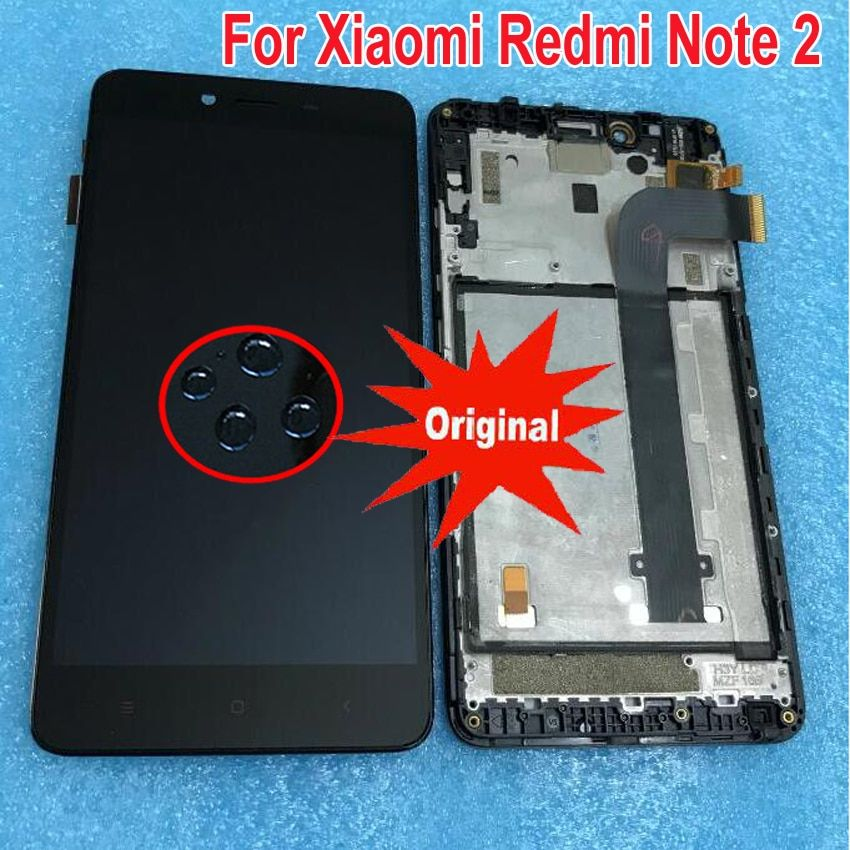 100% Working LCD Display Touch Screen Digitizer Assembly with frame For Xiaomi Redmi Note 2 Hongmi Note2 Phone Sensor Parts