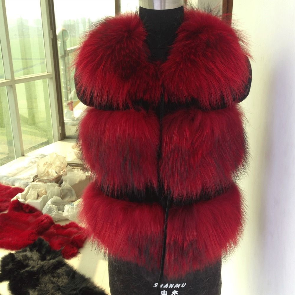 Factory sale fashion Lady Raccoon Fur vest women's real fur and leather winter overcoat girl's casual short Fur Vest coat