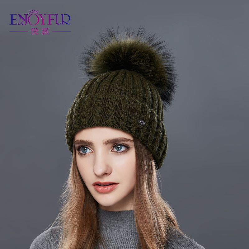 ENJOYFUR Knitted Wool Hat For Women Real Raccoon Fur Pompom Thick Warm Women's Caps Good Quality Hats For Autumn Winter Beanies