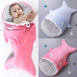 Wipalo pequeño Conchas tiburón lindo dibujos animados bebé bolsa de dormir recién nacidos invierno Cochecitos cama swaddle manta abrigo Ropa de cama bebé sobre
