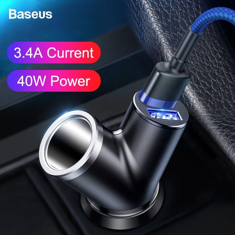Chargeur de voiture double USB Baseus pour iPhone Samsung Xiao mi mi 3.4A chargeur rapide de téléphone de voiture adaptateur chargeur de téléphone portable portable