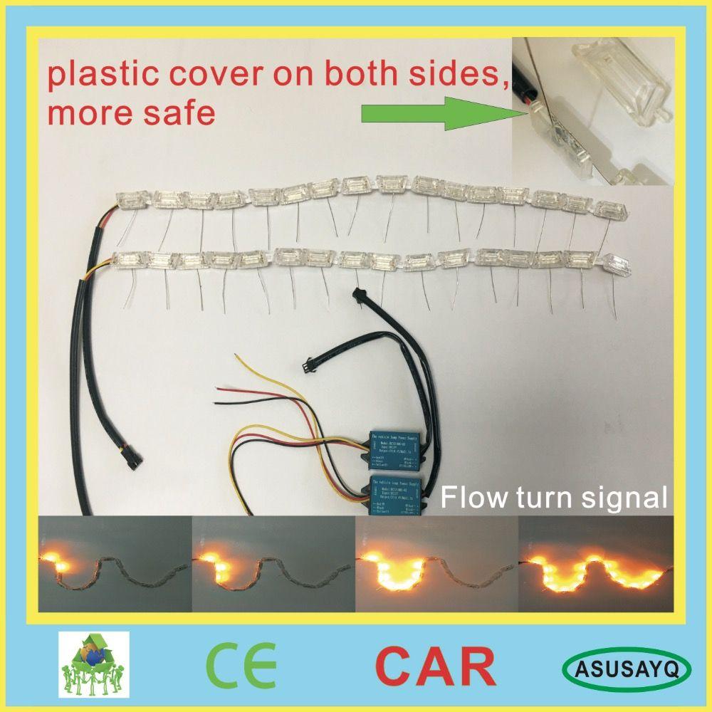 2017 HOT 60cm crystal extendable led flexible drl with flow turn signal 16leds white amber car daytime running light headlight