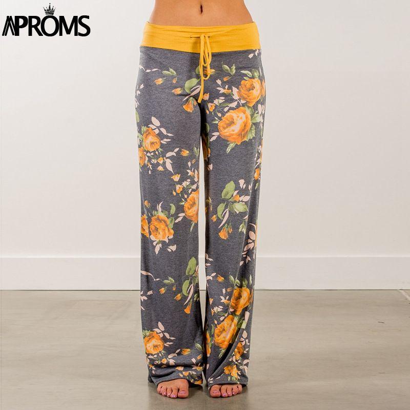 Aproms Jaune Couleur Bloqué Large Jambe Pantalon Femmes D'été 2019 Streetwear Taille Haute Pantalon Élastique Cordon Occasionnel Pantalons Longs