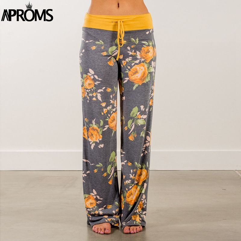 Aproms Yellow Color Blocked Wide Leg Pants Women Summer 2019 Streetwear High Waist Pants Elastic Casual Drawstring Long Trousers