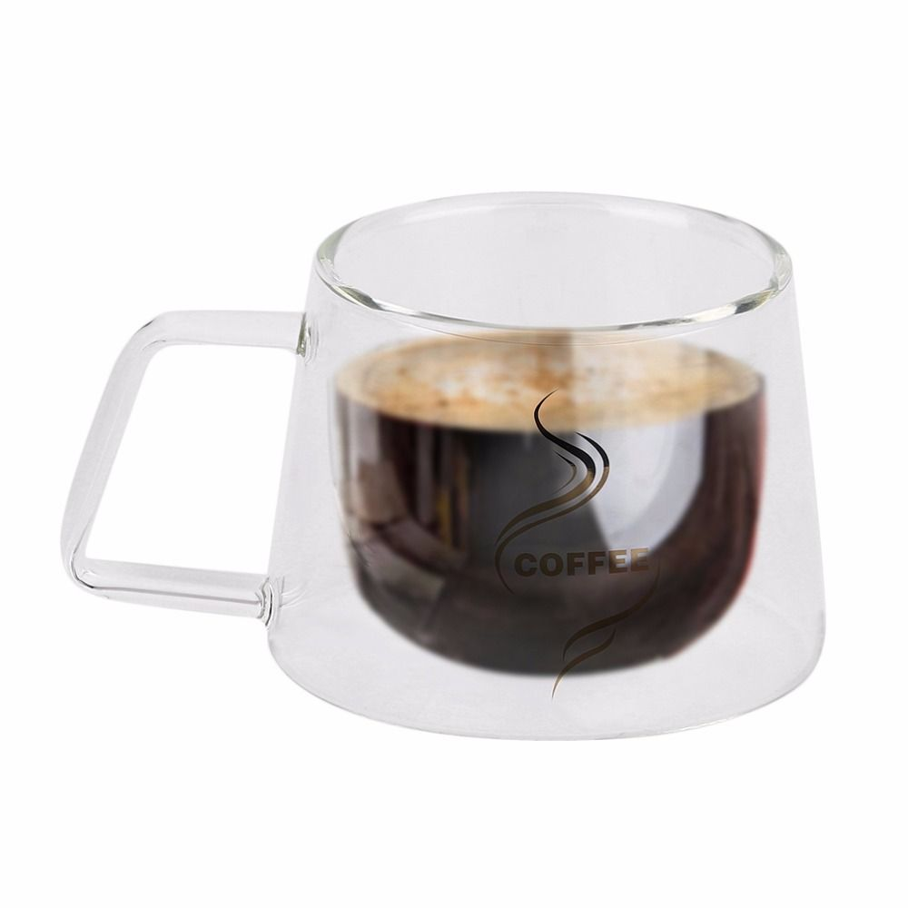 Double Layer Glass Coffee Mug Cup Borosilicate Glass Water Bottle Chinese Tea Fashion Design Heat Resistant Handle Cup
