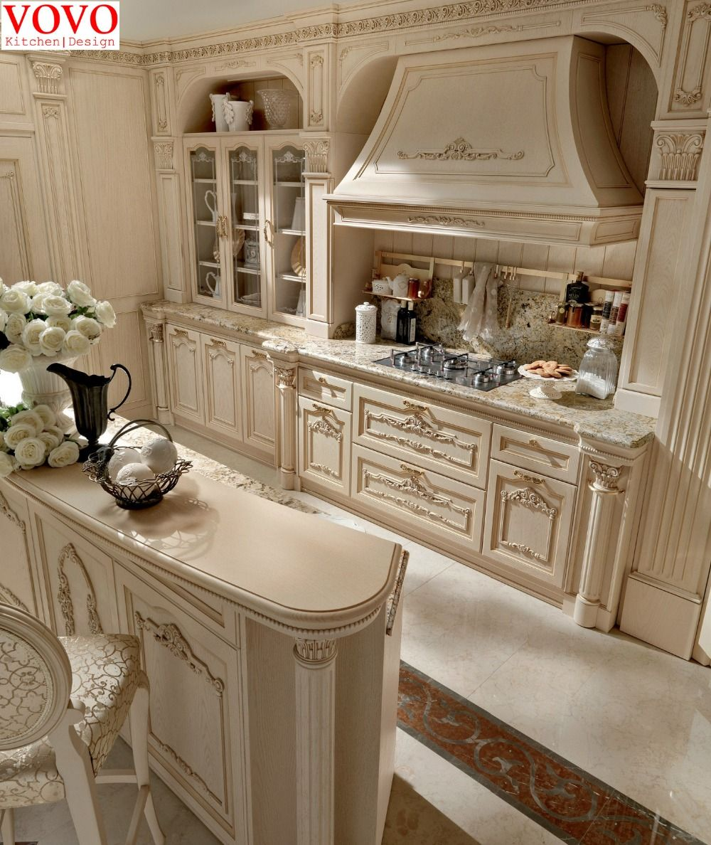 White kitchen cabinet unique design with beautiful decorations