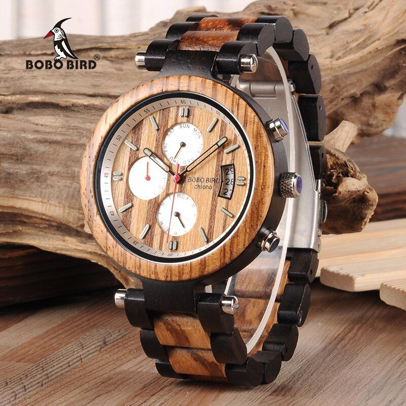 BOBO BIRD Auto Date Display Wood Watch Men Relogio Masculino Luxury Business Wrist Stop Watches with V-P17 Drop Shipping