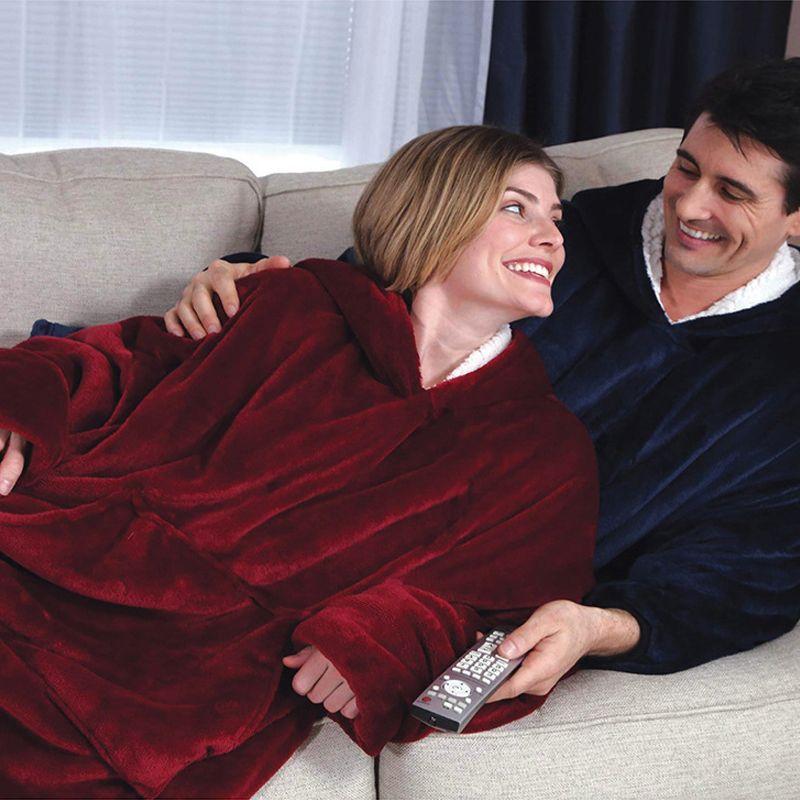 À capuche En Plein Air D'hiver À Capuchon Manteaux Chaud Oblique Robe À Capuche Peignoir Sweat Polaire Pull Couverture Pour Hommes Femmes