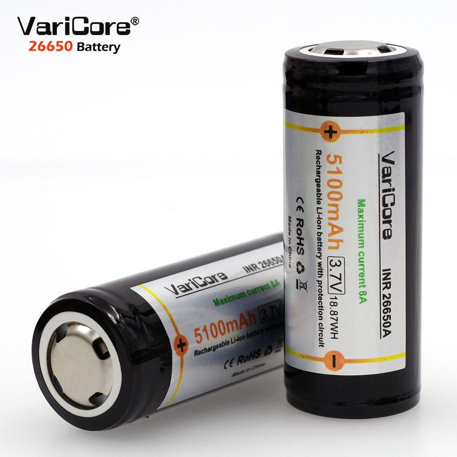 2 pièces Protection contre les varices 26650 5100 mAh 3.7 V batterie Rechargeable li-lon avec PCB 8A 3.6 V batteries d'alimentation pour lampe de poche