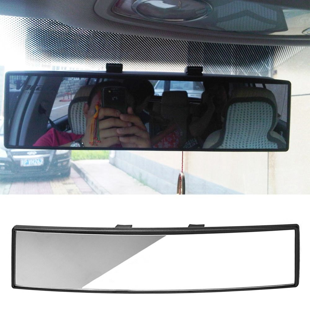 Universal 300mm Panoramic Curve Convex Interior Clip On Rear View Mirror Bacl-up Assistance