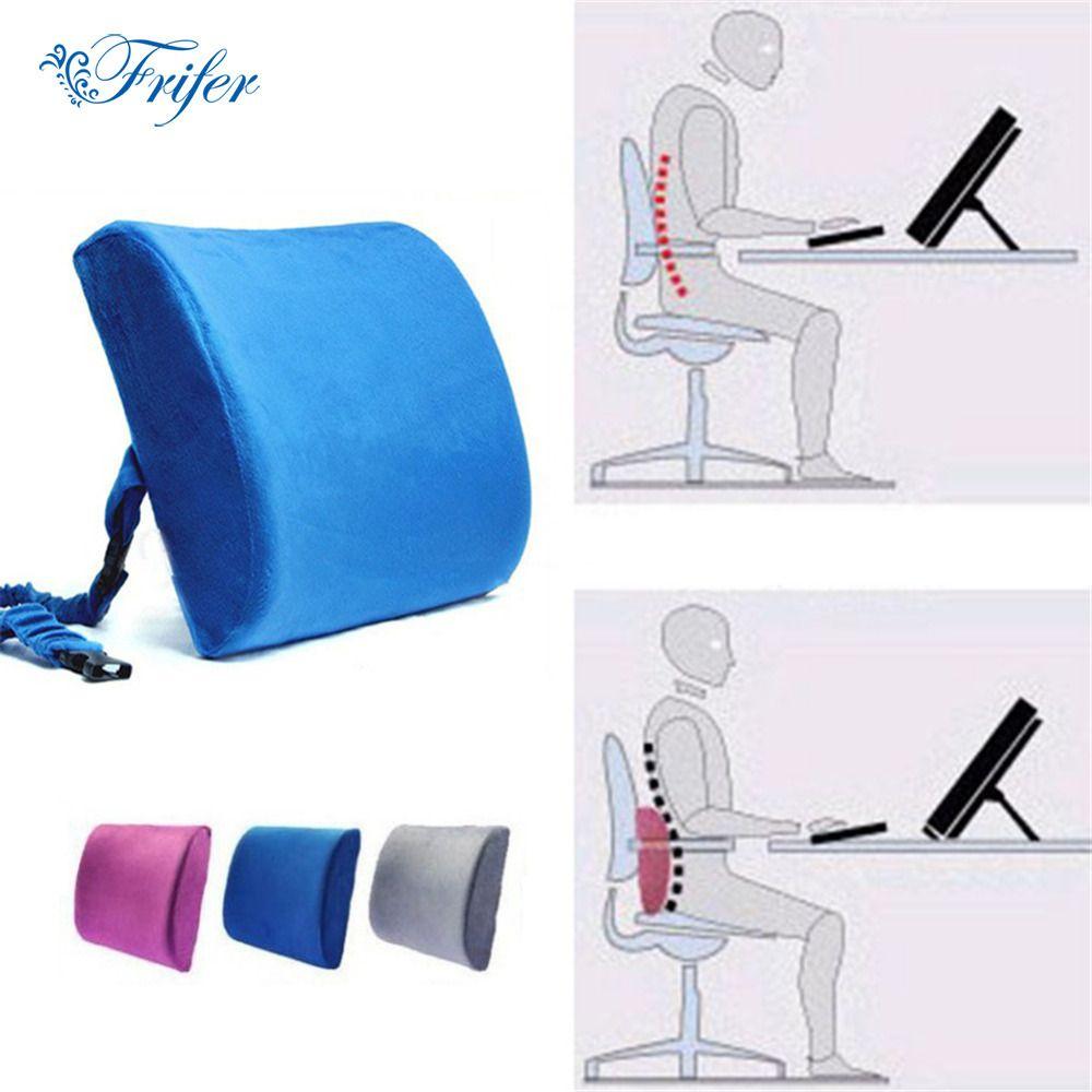 Oreillers ergonomiques en mousse à mémoire de forme chaise de bureau de voiture coussin de siège arrière Double boucle rebond pression Massage dossier taille oreiller
