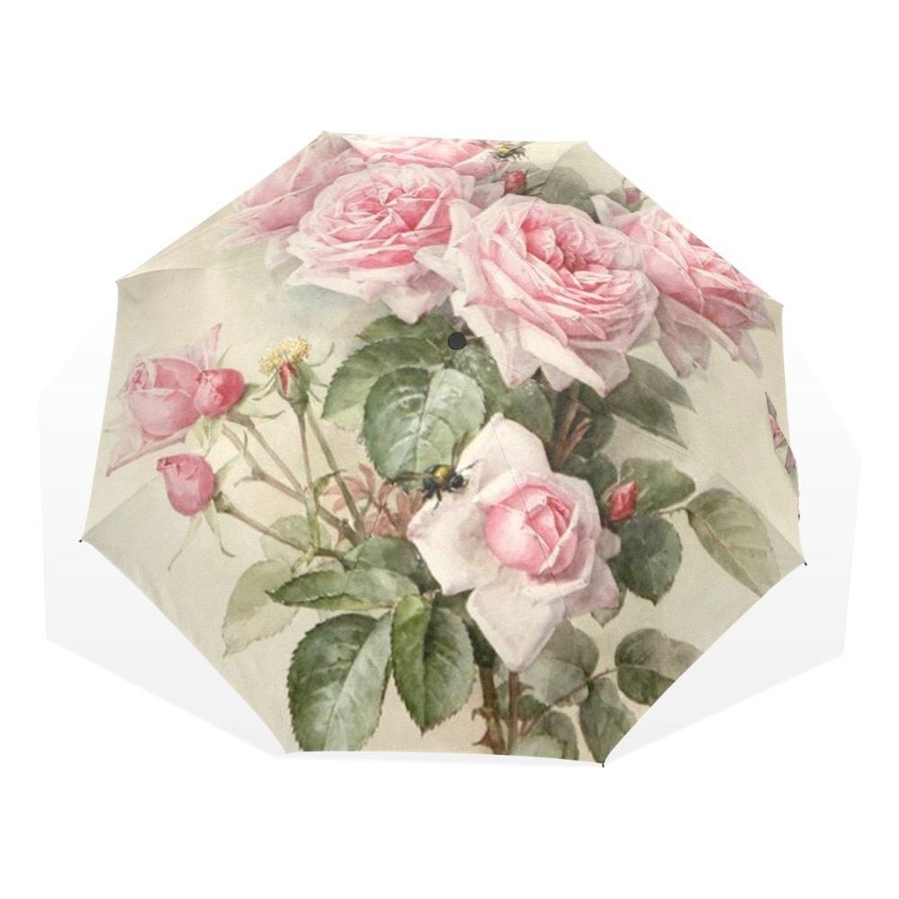 Vintage Shabby Floral Women Rain Umbrella Chic Pink Rose Three Folding Girl Durable Portable Umbrellas Automatic Rain Gear