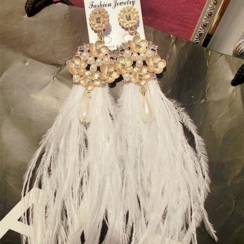 Барокко Crystal Pearl Цветы белое перо Длинные серьги кисточкой в богемном стиле Свадебные украшения для женщин девочек