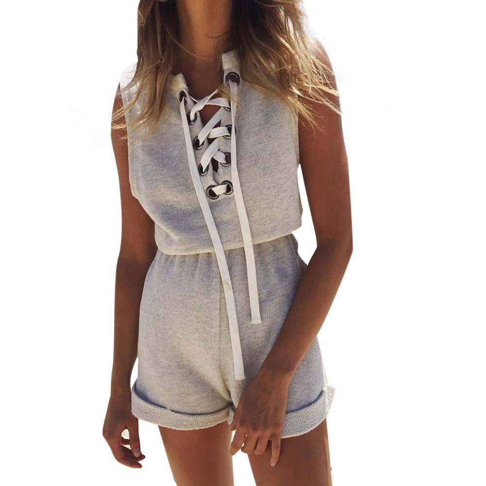 2017 Fashion Women Summer Bandage Jumpsuit Sleeveless Ladies Rompers womens jumpsuit combinaison femme macacao feminino