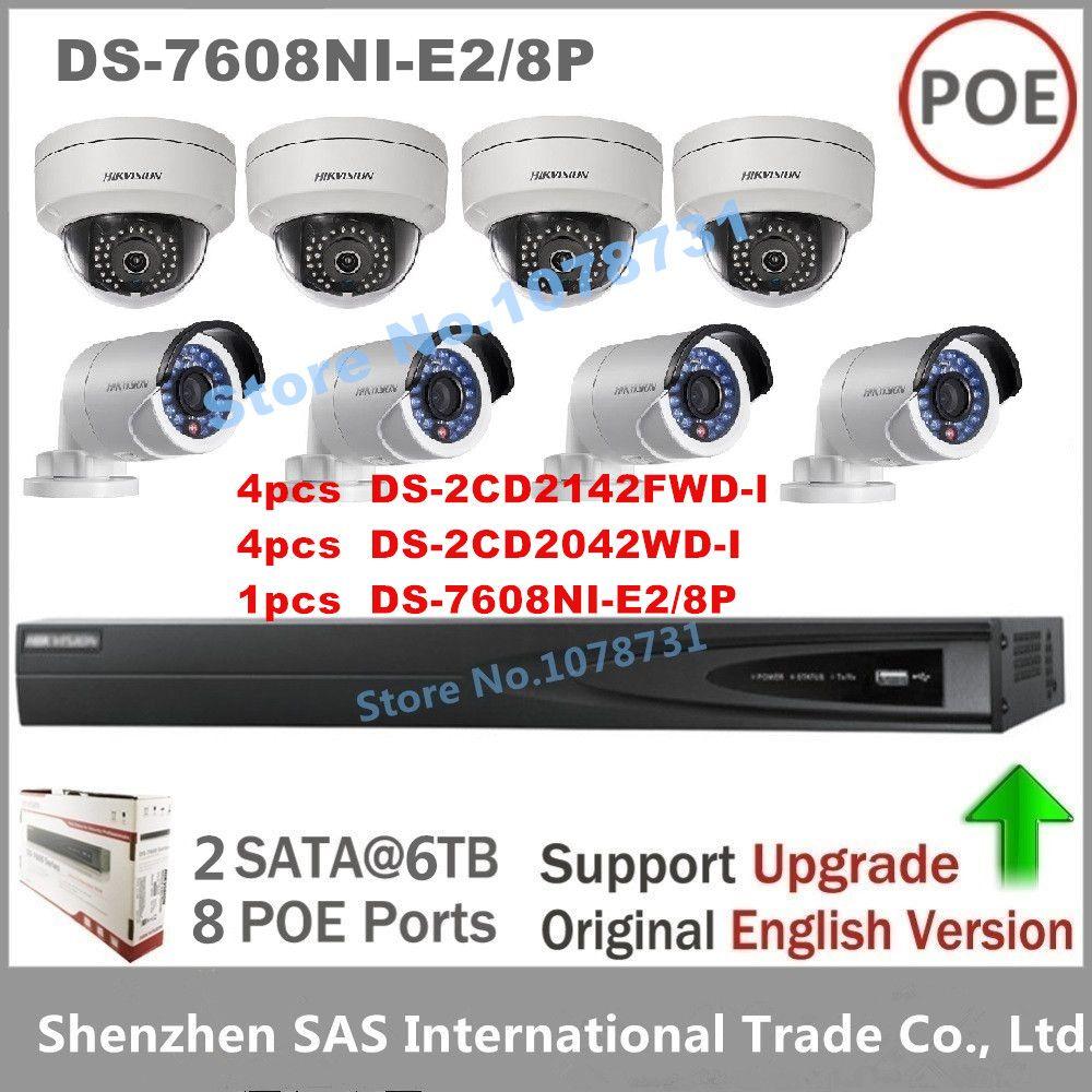 Hikvision CCTV Sistema NVR DS-7608NI-E2/8 P 8 POE + 4 unids DS-2CD2142FWD-I + 4 unids DS-2CD2042WD-I $ NUMBER MP IP cámara cámara de Vigilancia