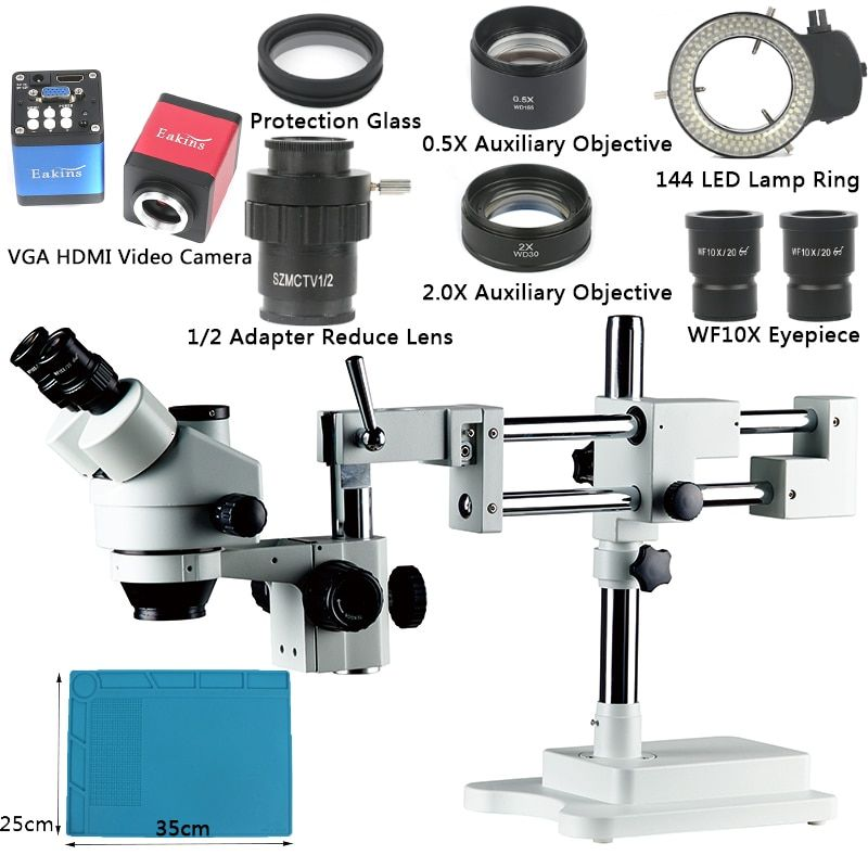 Boom Stand Simul-Focal 3.5X-90X Zoom Microscope Set + 14MP HDMI VGA Camera + 144 LED Light For Jewelry Inspection PCB Soldering