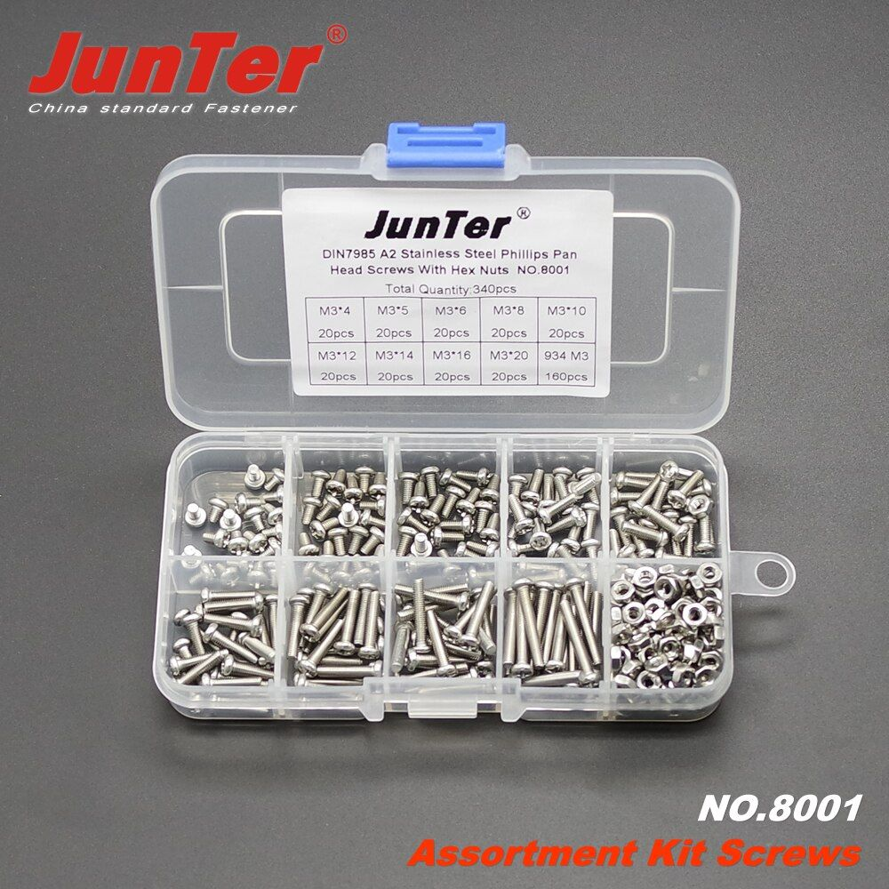 340 pcs M3 (3mm) * 4/5/6/8/10/12/14/16/20 A2 En Acier Inoxydable Phillips Machine Head Vis Avec Écrous Hexagonaux Assortiment Kit NO 8001
