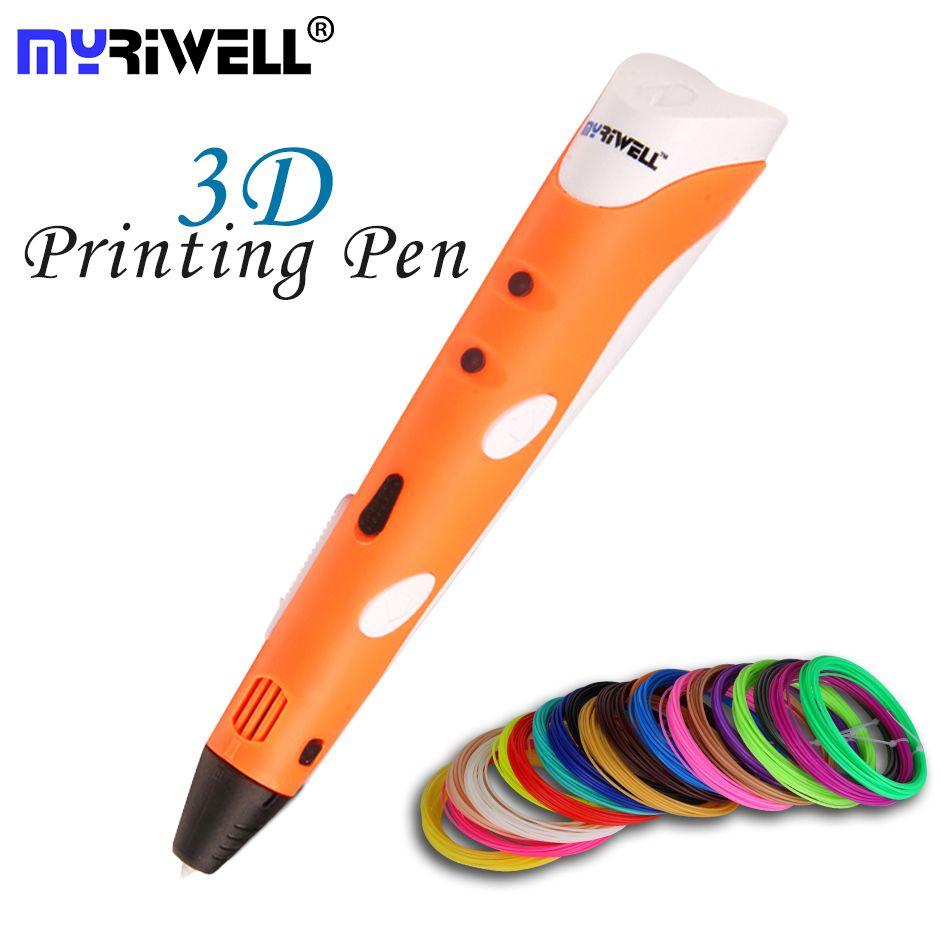 Myriwell Brand New Magique 3D Stylo Dessin 3D Impression Stylo Avec 1.75mm ABS Filaments Pour Enfants Cadeau D'anniversaire