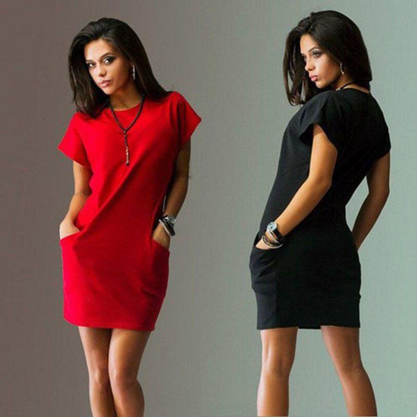 Été T Shirt robe Sexy solide à manches courtes O cou décontracté femmes moulante Mini robes poche Slim 2018 mode rouge bleu robe