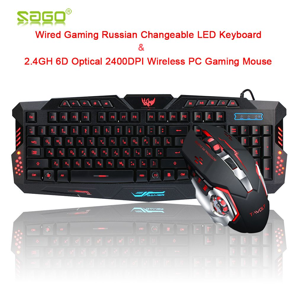 Sago Russian Game Keyboard Changeable LED with 3 Color Luminous Backlit+2.4GH 6D Optical 2400DPI Wireless PC Gaming Mouse