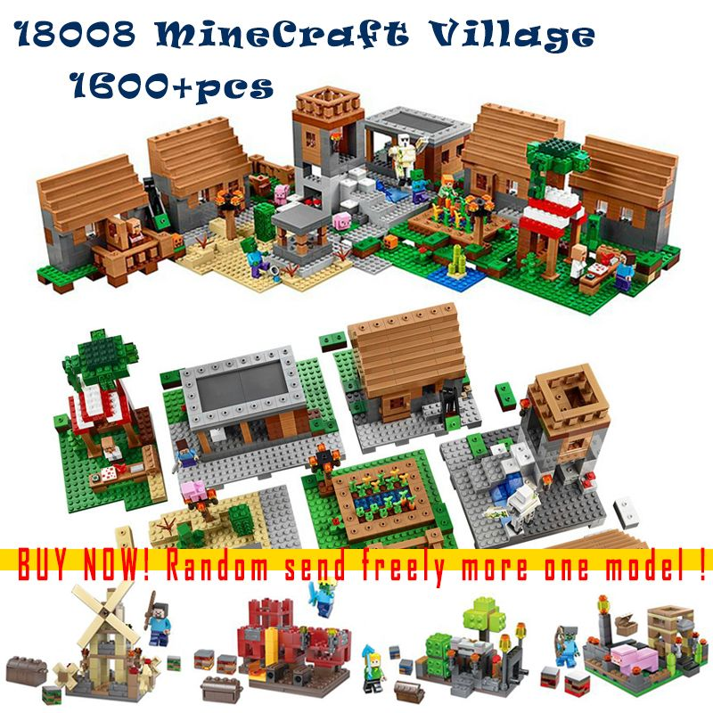 1673pcs 18008 Model building kits compatible with lego 21128 my worlds MineCraft Village 3D bricks toys hobbies for children