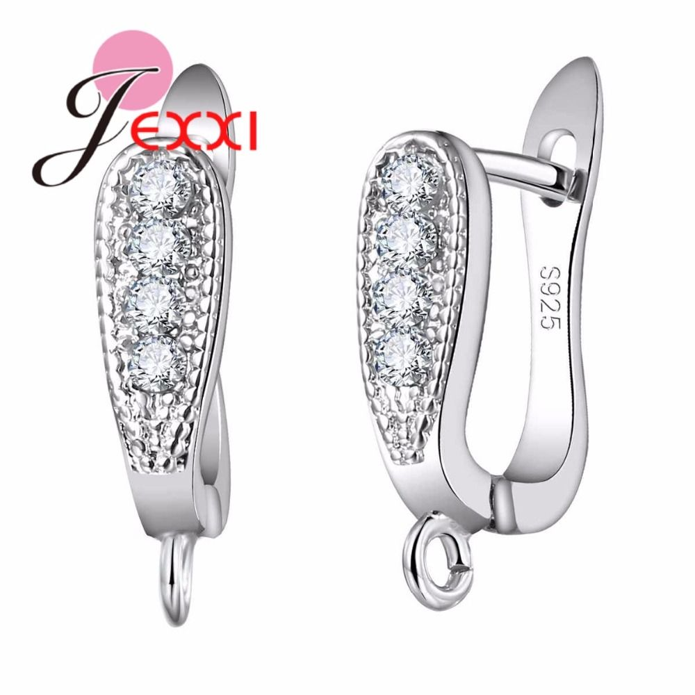 JEXXI Promotion Factory Price 925 Sterling Silvre Jewelry Accessories for Women Clear Rhinestone Hoop Earrings Fashion Bijoux