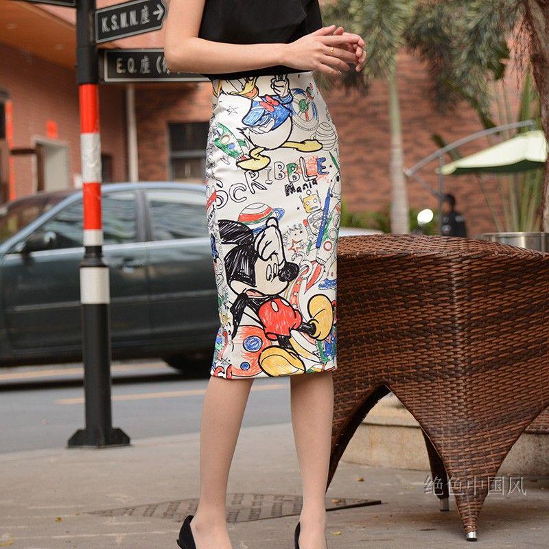 S-2XL 7 Mang 2019 taille haute dessin animé Mickey jupe imprimer genou longueur jupes femmes Harajuku rue Kwaii extensible jupe crayon 0506