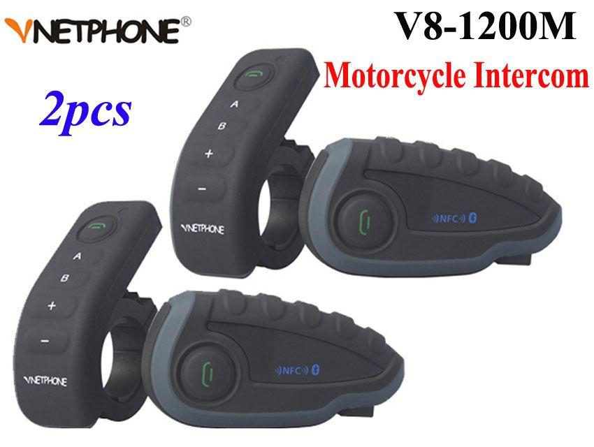 2 stücke Vnetphone V8 Motorrad Helm Intercom NFC Fernbedienung Bluetooth Sprech Headset 5 Reiter 1200 Mt vollduplex reden
