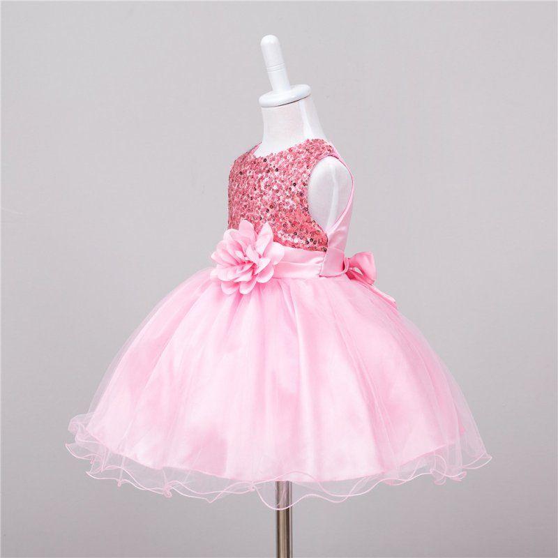 Été bébé robes filles Sequin fleur Bowknot anniversaire fête de mariage Tutu robe fille