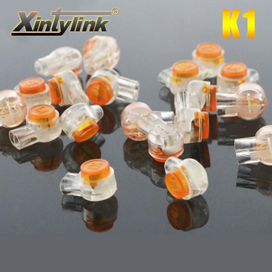 Xintylink k1 connecteur à sertir terminal étanche câblage ethernet câble cordon téléphonique cuivre pur de haute qualité 200 pcs