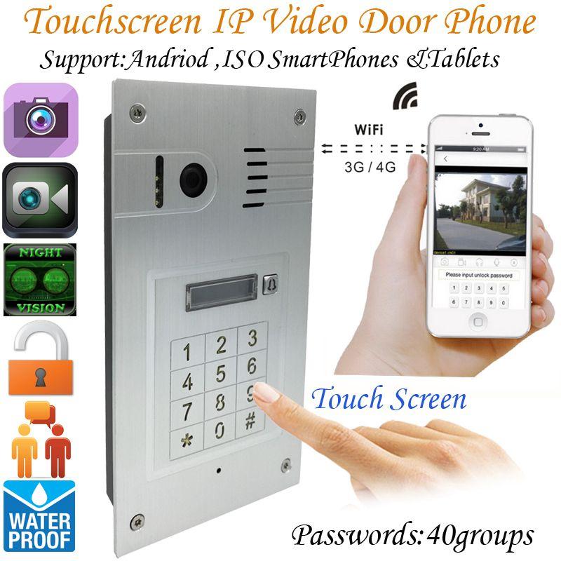 Global 3G/4G Wireless Wifi Touchscreen Video door phone embedded doorbell IP Camera Intercom system