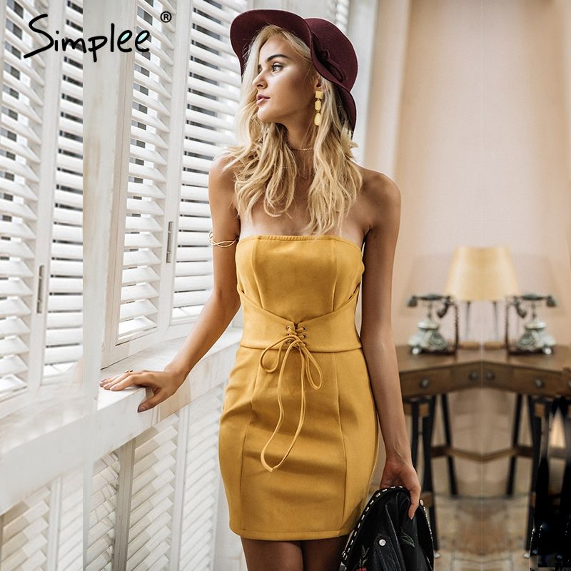 Simplee Sexy <font><b>leather</b></font> suede bodycon dress Women elegant tie up waistband vintage dress Party strapless autumn winter dress 2017