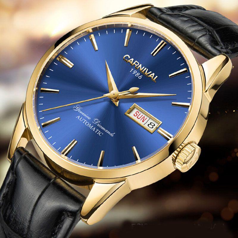 Luxury Carnival Brand Mechanial Watch Men Classic Blue Dial Day-Date Luminescence Japan Miyota 25 Jewels Clock Reloj Hombre