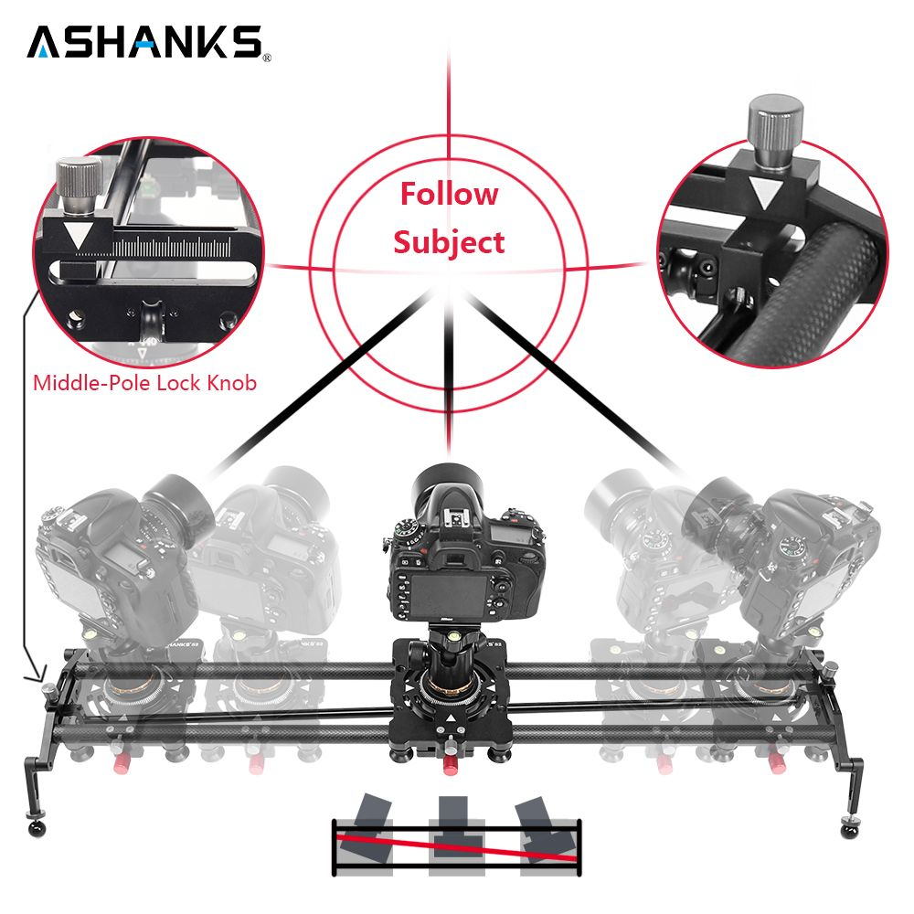 ASHANKS S2 Track Camera Slider Carbon Fiber Adjustable Angle Tube Follow Focus Pan for Stabilizer DV DSLR Camera Video Shooting