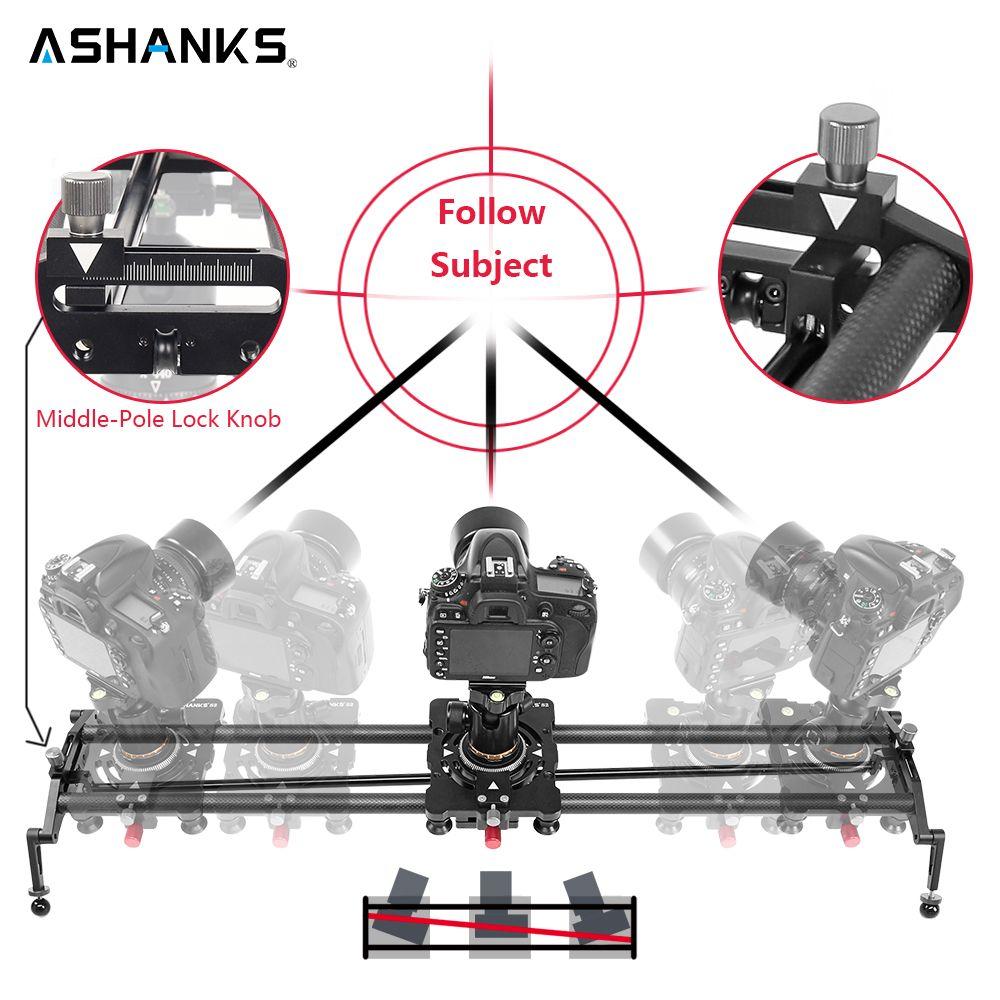 ASHANKS S2 Track Kamera Slider Carbon Fiber Einstellbare Winkel Rohr Folgen Fokus Pan für Stabilisator DV DSLR Kamera Video Schießen