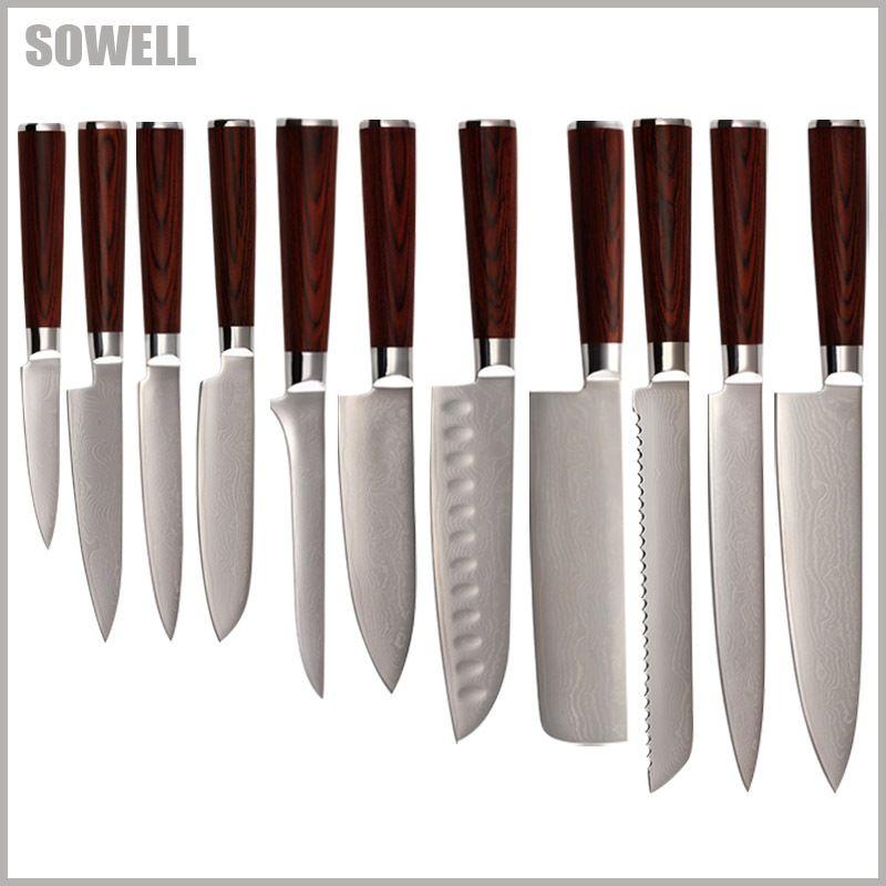 Qing brand Damascus kitchen knives chef slicing bread chopper santoku boning utility paring knife 9Cr18Mov Damascus steel knives